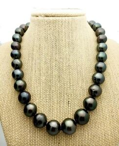 BEAUTIFUL BLACK TAHITIAN PEARL NECKLACE