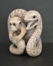 Japanese not Chinese Antique Netsuke Monkey and Snake Ivory 19th Cleveland Redland Area Preview