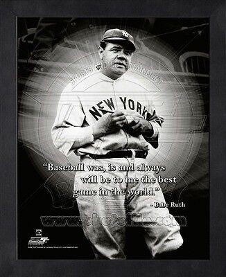 (Babe Ruth New York Yankees 8x10 Black Wood Framed MLB Pro Quotes Photo #1)