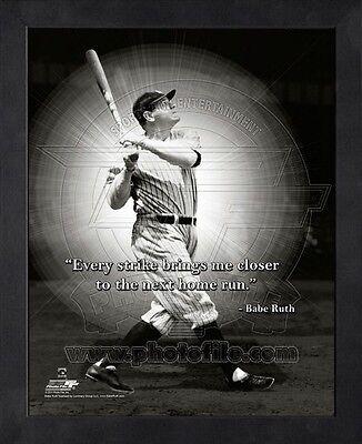 (Babe Ruth New York Yankees 8x10 Black Wood Framed MLB Pro Quotes Photo)