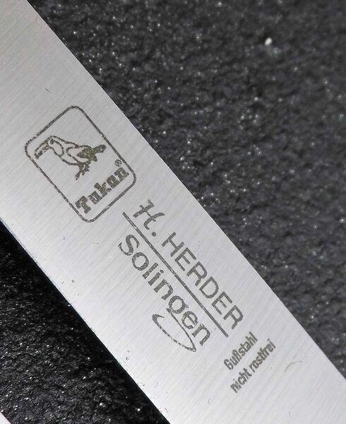 2 Solinger Küchenmesser Herder Solingen nicht rostfrei Gemüsemesser Carbon Guß