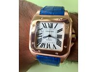 New rose gold Cartier with blue leather straps watch