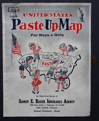 61 New Castle  Indiana Insurance Agency United States Paste Up Map Sticker Book