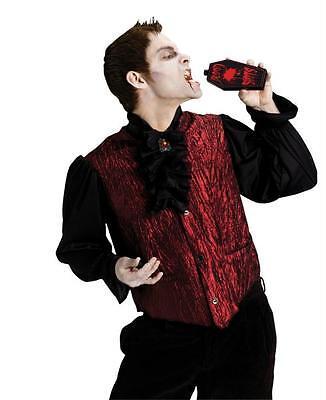 Erwachsene Vampir Dracula Shirt mit / Weste Jabot Kostüm & Sarg Flachmann Kleid