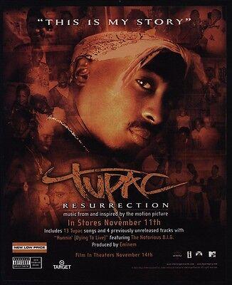 2003 TUPAC SHAKUR - RESURRECTION Album Release - VINTAGE ADVERTISEMENT
