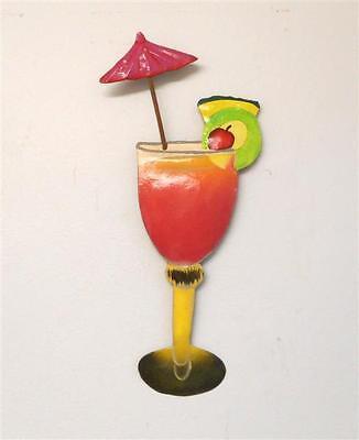 "OUTDOOR HAITIAN METAL 12"" MAI-TAI TROPICAL DRINK TIKI WALL ART HANGING DECOR"
