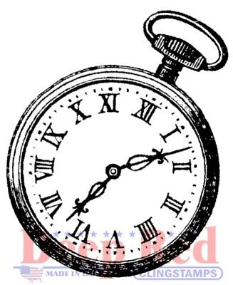 Deep Red Stamps Pocket Watch Rubber Cling Stamp