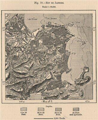 Rio de Janeiro. Brazil 1885 old antique vintage map plan chart
