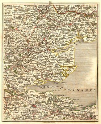 THAMES ESTUARY.Essex Kent Colchester Chelmsford Dartford Southend.CARY 1794 map