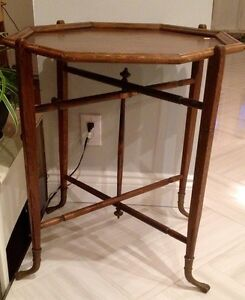 Antique brass foot foldable tray table