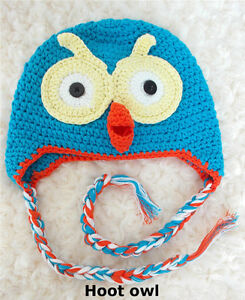 Newborn - large baby BEANIE hat GIRLS BOYS CROCHET monkey owl teddy PHOTO prop