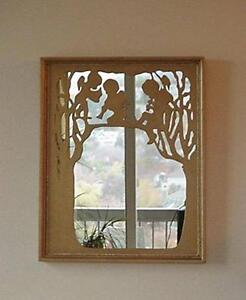 Mirror with All Wood Gold Framed Cutouts of Three Cherubs Sitting in Trees