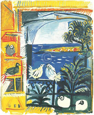 Pablo Picasso The Pigeons 1957 Animal Bird Water Scene Print Poster 27x38
