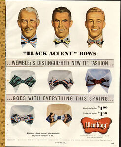 1950 Large authentic full-page, color print ad Wembley Bow Ties