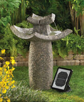 Stone-Look Asian Temple Solar Water Fountain Brand New