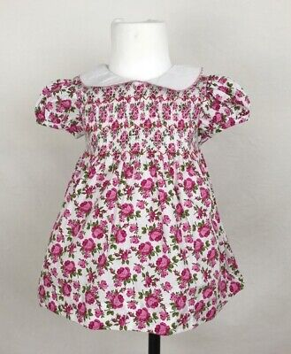 Baby Girl Floral Smocked Dress, Pants & Headband Outfit up to 36 months ()