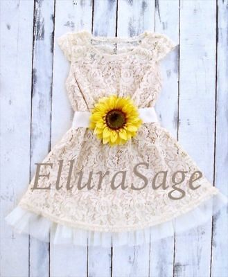 Sunflower Ivory Rustic Lace Flower Girl Dress, Lace Baby Dress by Ellura Sage Sage Flower Girl
