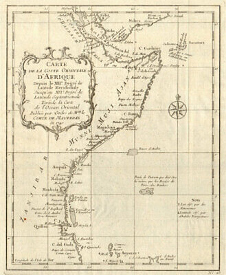 'Coste Orientale d'Afrique…' East Africa Kenya Tanzania Somalia. BELLIN 1746 map