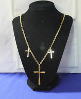 Unique gold tone necklace with 3 Crosses