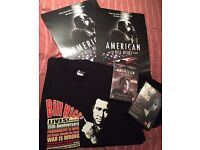 Bill Hicks promo swag, posters, T Shirt and DVDs.