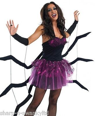 Ladies Sexy Spider Black Widow Halloween Animal Fancy Dress Costume Outfit 8-18