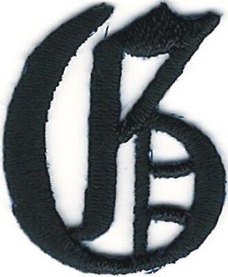2.9cm Kostüm Schwarz Altenglische Alphabet Buchstabe G Gestickter Aufnäher
