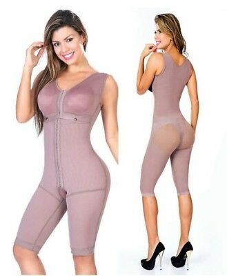 Faja Reductora Colombiana Post Surgery with Bra Firm Compression Long Leg Girdle