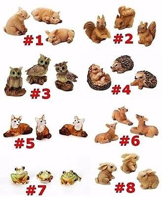 MINIATURE 3 PC SET RESIN ANIMALS SQUIRREL FOX DEER FROG OWL HEDGEHOG RABBIT - Miniature Owl