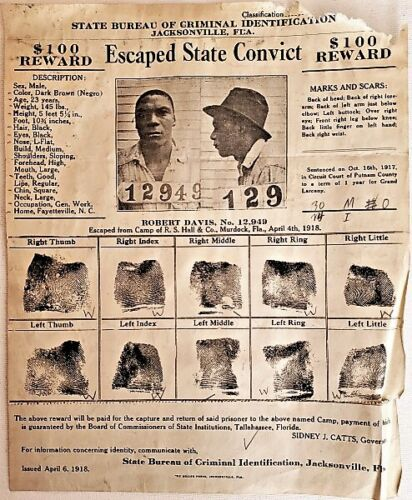 1918 JACKSONVILLE, FLA ESCAPED CONVICT WANTED POSTER for Robert Davis NR