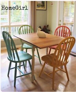 Colourful drop leaf table and 4 chairs