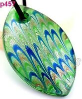 Peacock Feather Murano Art Glass Pendant Necklace--NEW!