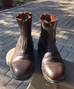 Brown paddock boots size 6 zip up