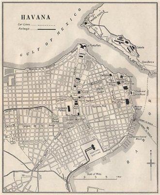 HAVANA. Vintage town plan. Railways & streetcar lines. Cuba. Caribbean 1927 map