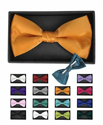 Men's Solid Color Clip On Bow Tie in Black Formal Gift Box Pre-Tied (Bow Tie Clips)