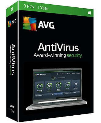 Avg Antivirus 2016 3 Pc   1 Year  New Retail Box  Free 2017 Upgrade