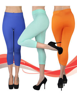 Womens-Soho-Solid-Color-Capri-Leggings-L0500