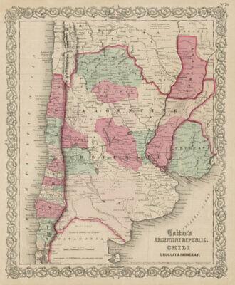 Colton's Argentine Republic, Chili, Uruguay & Paraguay. Argentina Chile 1863 map