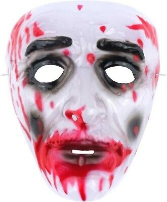 Clear Plastic Halloween Face Mask (HORROR ZOMBIE BLOODY FACE MASK HALLOWEEN FANCY DRESS CLEAR PLASTIC SCARY)