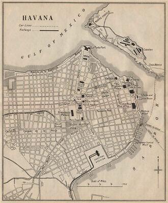 HAVANA. Vintage town plan. Railways & streetcar lines. Cuba. Caribbean 1914 map