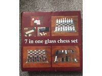 7 in one glass chess set including other games