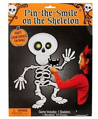 Children's Halloween Skeleton Pin The Smile Party Game Activity - Halloween Games Activities