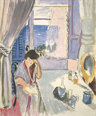 Woman Reading at a Dressing Table late 1919 Henri Matisse Print Poster 11x14 Henri Matisse Woman Reading