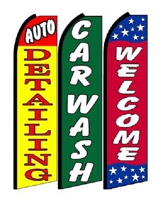 Auto Detailing Car Wash Welcome King Size Swooper Flag Sign Pack Of 3 Hardware