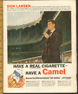 1957 large color magazine ad for Camels with Don Larsen, Yankees