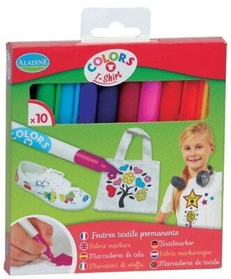 Aladine Colors Textilmarker 10 Stück Filzstifte Kinder Stoff bemalen 42020