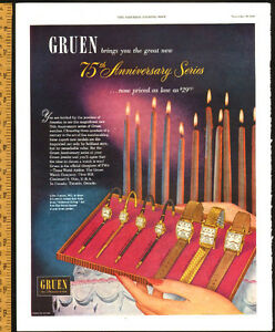 Large 1949 full-page color Gruen Watches Ad