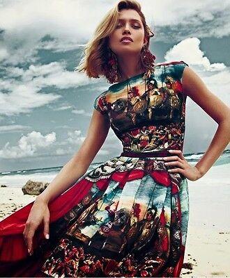 NWT DOLCE & GABBANA Printed silk-organza dress Size 42 6 ()
