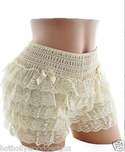 IVORY Lace Burlesque Knickers COSTUME Sissy Square Dance Pettipants Bloomers S M