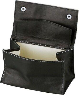 PASSATORE Tabakstellbeutel Leder schwarz Kautschukfutter mit Fach Rückseite OVP