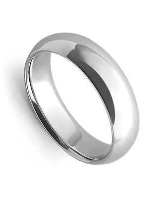 Mens Women Solid 14K White Gold Plain Wedding Ring Band Comfort Fit 6MM Size 10